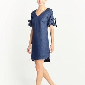 j.CREW Denim Bell Tie-Sleeves dress